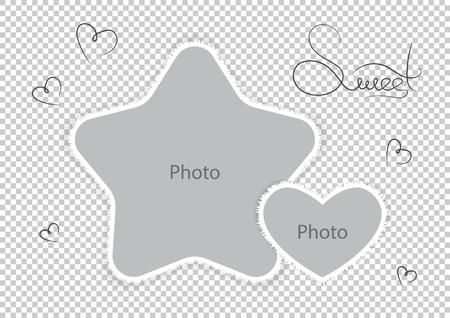 Kids photo frames template amazing montages favorite photos. Vector illustration.