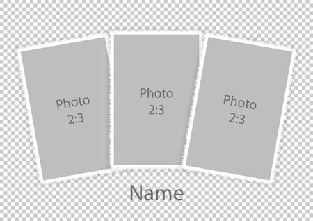 Template modern photo frames soft white frames. Vector illustration.