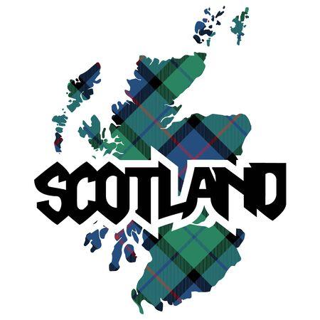 Mappa e nome della Scozia trama del plaid scozzese. Illustrazione vettoriale