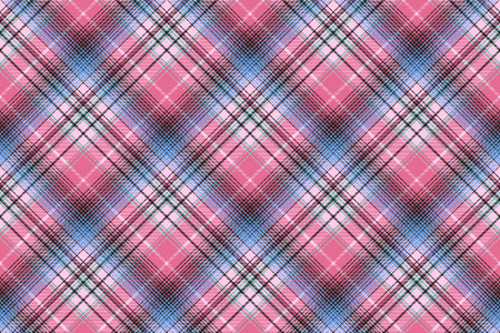 Blue pink abctract check plaid seamless pattern. Vector illustration.
