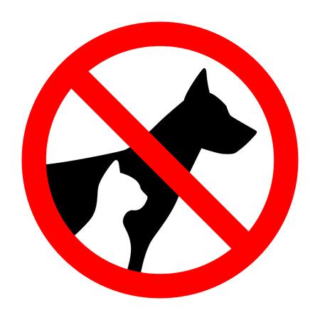 Cartello di divieto stop sagoma semplice animali domestici cane e gatto. Illustrazione vettoriale Vettoriali