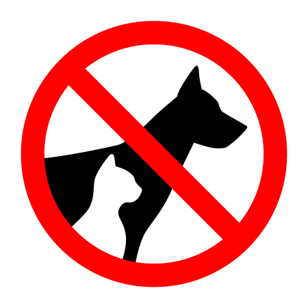 Prohibition sign stop pet dog and cat simple animals silhouette. Vector illustration.