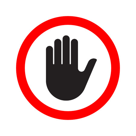 Hand making a stop signal symbol. Vector illustration.