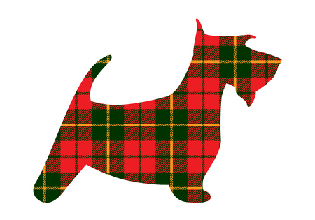 Scotch terrier tartan texture plaid rouge motif Ecosse. Illustration vectorielle. Banque d'images - 98483146