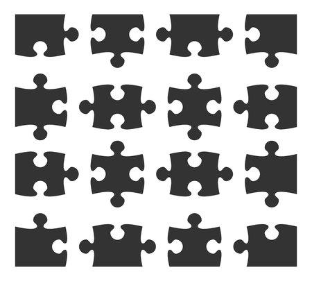 Set icon jigsaw puzzle part design elements silhouette. Vector illustration.