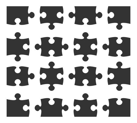 Set icon jigsaw puzzle part design elements silhouette. Vector illustration.