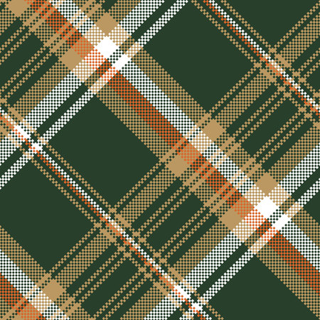 Green pixel plaid fabric seamless pattern vector illustration.