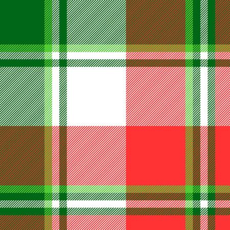 Green bright madras plaid seamless fabric texture. Vector illustration.