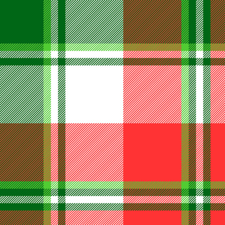 Green bright madras plaid seamless fabric texture. Vector illustration.