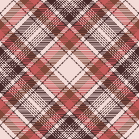 Brown traditional plaid fabric texture seamless pattern. Vector illustration.