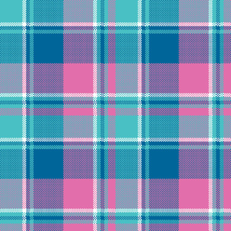 Baby girl pink pastel color plaid seamless pattern. Vector illustration.