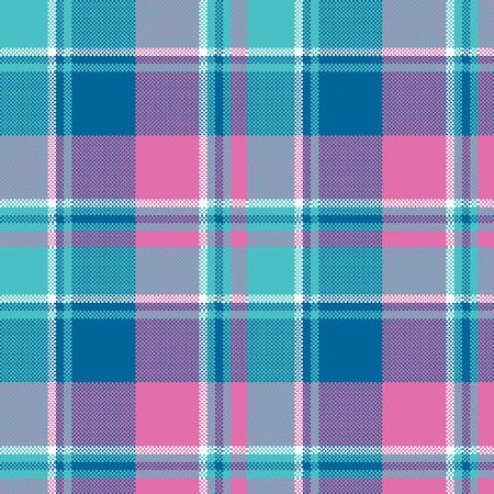 Baby girl pink pastel color plaid seamless pattern. Vector illustration. Illustration
