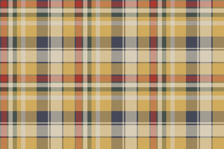 Yellow plaid check fabric texture seamless pattern. Vector illustration.