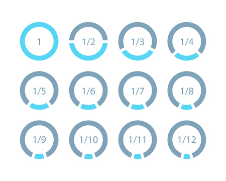 Set mathematical fractions parts of ring template for infographics. Vector illustration. Ilustración de vector
