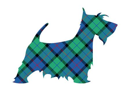 Scotch terrier tartan modello nazionale fiore della scozia. Illustrazione vettoriale. Vettoriali