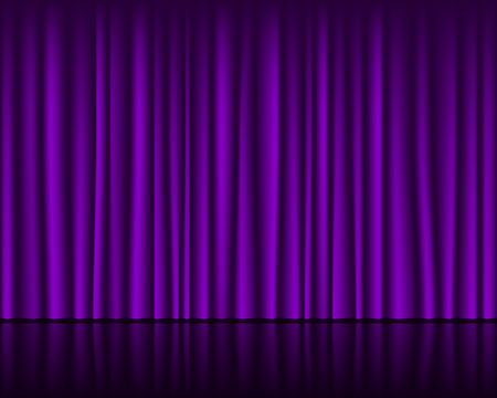 Magic stage with purple curtain seamless template. Vector background.