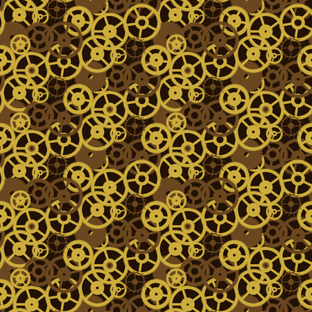 Vintage vector background old gears mechanism seamless pattern
