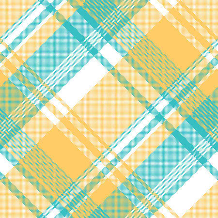Yellow blue lite color pixel plaid seamless fabric texture. Vector illustration.