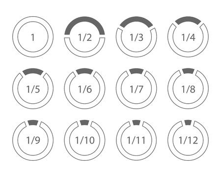 Set of arithmetic fractions segmented ring design element template. Vector illustration.