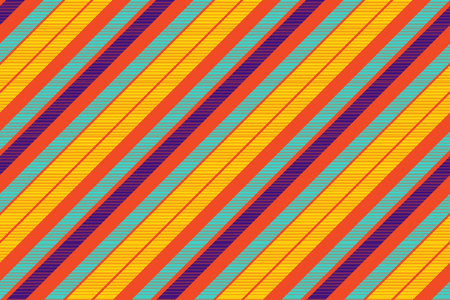 Orange pop art colored striped diagonal fabric texture seamless pattern. Vector illustration.