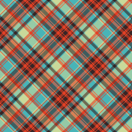 Pop art color check plaid pixel seamless fabric texture. Vector illustration.