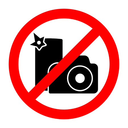 No photo stop camera or smartphone prohibition sign. Vector illustration. Illustration