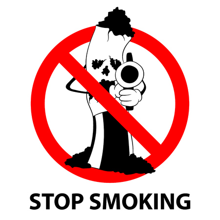 Stop smoking no tobacco day prohibition sign concept. Vector illustration.