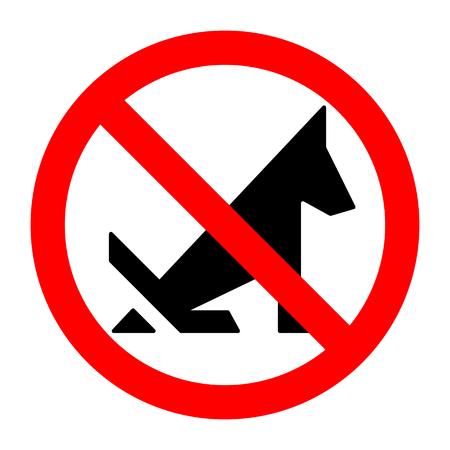 Poop dog stop prohibition sign black silhouette. Vector illustration. Banque d'images - 109762034