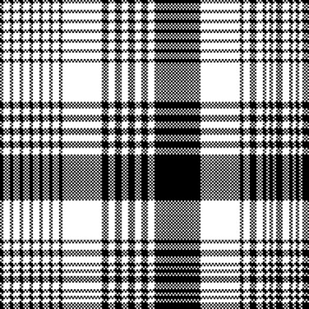Black and white fabric texture check tartan seamless pattern. Vector illustration.