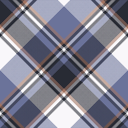 Blue check pixel tartan seamless fabric texture. Vector illustration.