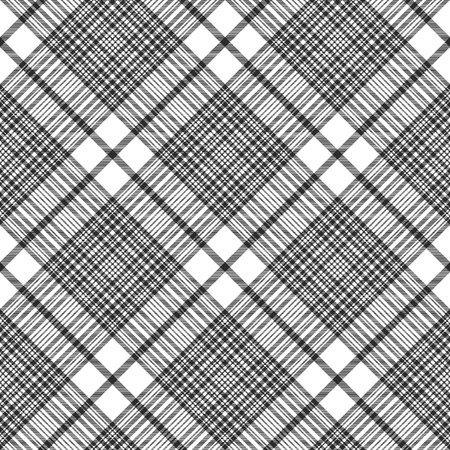 Black and white check plaid seamless fabric texture. Vector illustration. Illustration
