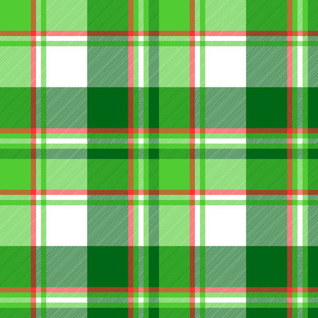 Summer color green check plaid seamless pattern. Vector illustration.