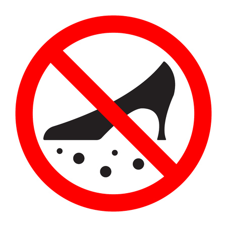 Dirty shoes are forbidden prohibition sign. Vector illustration. Vectores