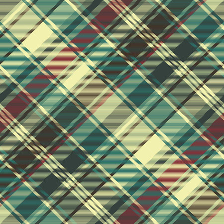 Green red plaid check fabric texture seamless pattern. Vector illustration. Vettoriali