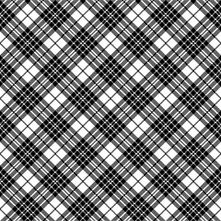 Blackberry tartan clan black white pixel seamless pattern. Vector illustration. Ilustracja