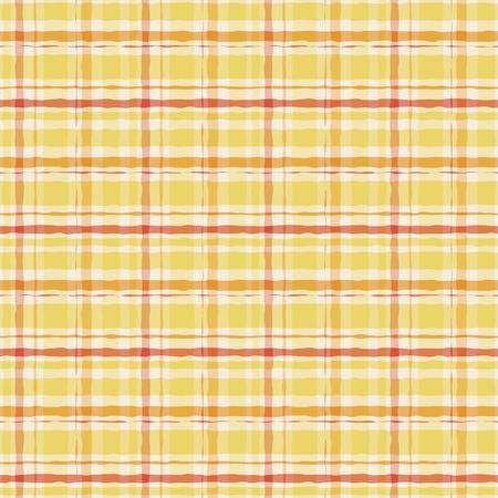 Gelbes Aquarell-Gingham-Plaid. Nahtloses Muster des gestreiften Pinsels. Vektor-Hintergrund.