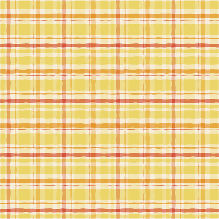 Yellow watercolor gingham plaid. Striped paint brush seamless pattern. Vector background.  イラスト・ベクター素材