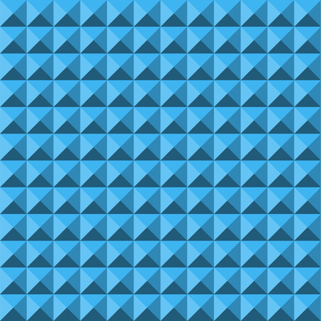 Blue abstract relief pyramid texture seamless pattern. Vector background.