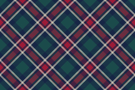 Tartan plaid pattern in green and red. Print fabric texture seamless. Check vector background. Standard-Bild - 113225074