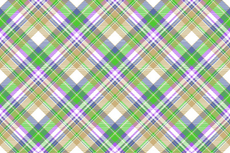 Tartan plaid pattern in green and beige. Print fabric texture seamless. Check madras vector background.