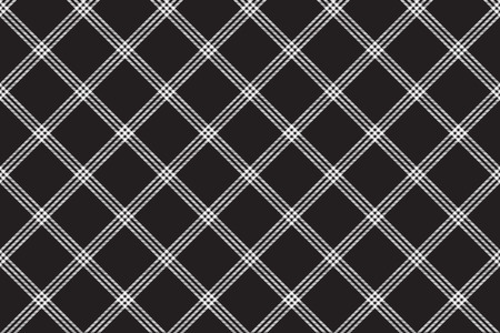Tartan plaid pattern in black and white. Print fabric texture seamless. Check vector background.