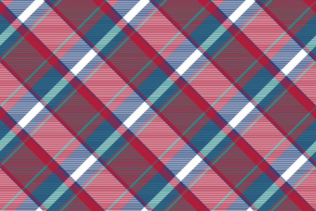 Tartan plaid pattern in blue and red. Print fabric texture seamless. Check vector background. Illustration