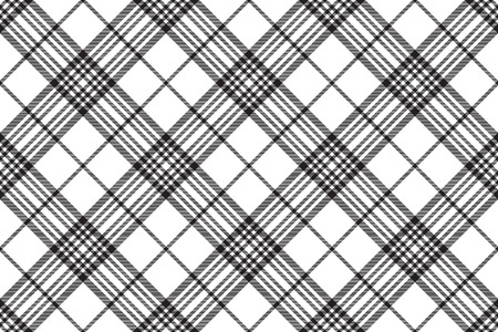 Tartan plaid pattern in white and black. Print fabric texture seamless. Check vector background.