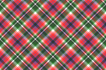 Tartan plaid pattern in red and green. Print fabric texture seamless. Check vector background.