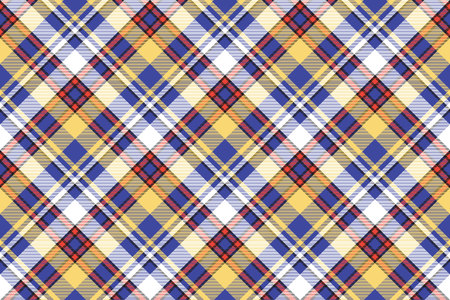 Tartan plaid pattern in blue and yellow. Print fabric texture seamless. Check vector background.