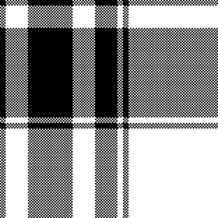 Black white plaid seamless pixel pattern. Vector illustration.