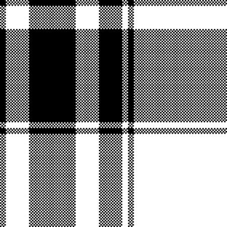 Black white plaid seamless pixel pattern. Vector illustration.