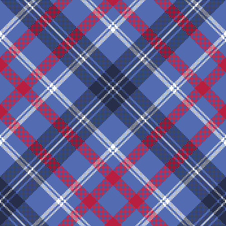 Blue check plaid pixel fabric seamless texture. Vector illustration. 일러스트