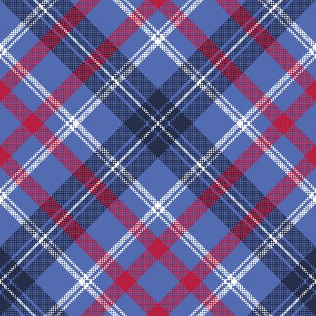 Blue check plaid pixel fabric seamless texture. Vector illustration. Illustration