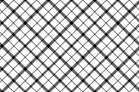 Flower of scotland tartan black white pixel seamless pattern. Vector illustration.
